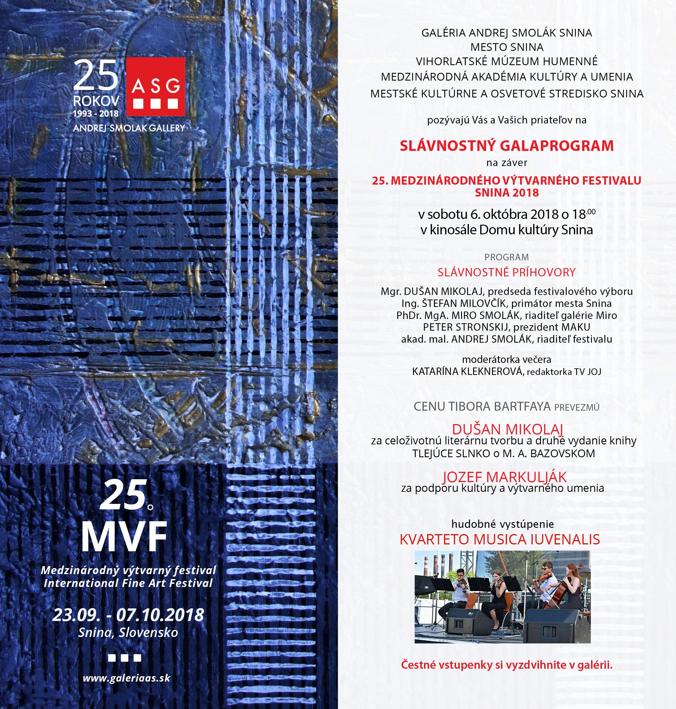 pozvánka na galaprogram 25 MVF